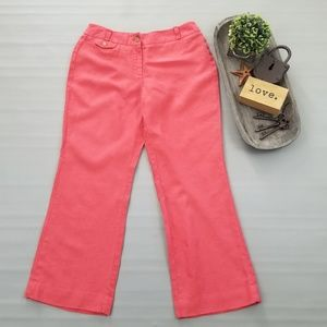 Loft Julie Petite coral red wide leg cropped pants